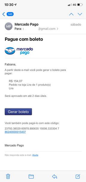 e-mail boleto personalizado mercado pago